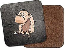 Cave Man Neanderthal Cork Backed Drinks Coaster