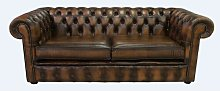 Cayuga Genuine Leather 3 Seater Chesterfield Sofa