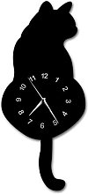 CDDRSXYQ Wall Clock Kitchen Adorable Black Cat
