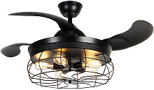 Ceiling fan black with remote control 5 lights -