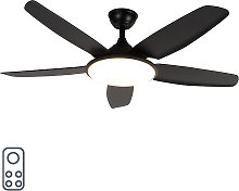 Ceiling fan black with remote control - Vifte