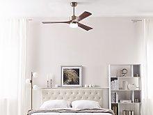 Ceiling Fan Light Brass Metal With Dark Wood