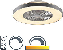 Ceiling fan silver with star effect dimmable -