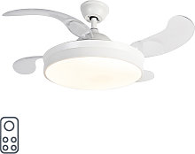 Ceiling fan white with remote control incl. LED -