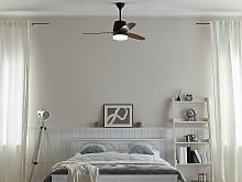 Ceiling Fan with Light Black and Dark Wood Metal 3