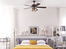 Ceiling Fan with Light Black Glass Metal Plywood
