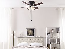 Ceiling Fan with Light Black Metal 3 Acrylic Glass