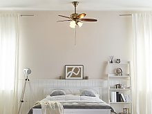 Ceiling Fan with Light Gold and Dark Wood Metal