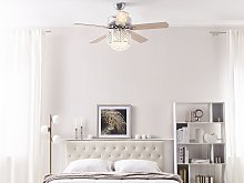 Ceiling Fan with Light Silver Metal Crystal Glass