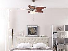Ceiling Fan with Light Silver Metal Wooden
