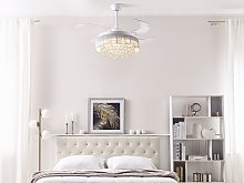 Ceiling Fan with Light White Metal Acrylic
