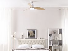 Ceiling Fan with Light White Metal Light Wood