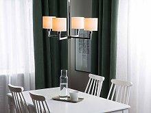 Ceiling Lamp 4 Lights White Fabric Round Drum