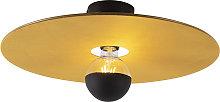 Ceiling lamp black flat shade yellow 45 cm - Combi