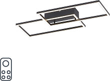 Ceiling lamp black incl. LED and dimmer 2 lights -