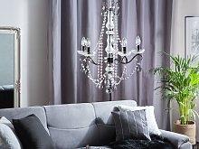 Ceiling Lamp Black Metal 123 cm Decorative Crystal