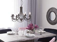 Ceiling Lamp Black Metal 143 cm High Gloss 8