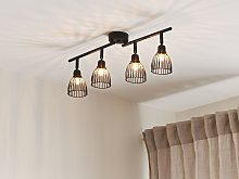 Ceiling Lamp Black Metal 4 Light Cage Shades