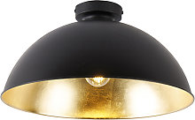 Ceiling lamp black with gold 42 cm adjustable -