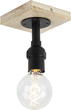 Ceiling lamp black with wood without shade 1-light