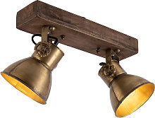 Ceiling lamp bronze 2-lights with wood - Mangoes