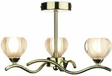 Ceiling lamp Cynthia polished brass and glass 3