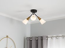 Ceiling Lamp Gold and White Metal Frame Bell