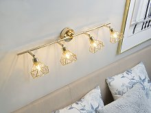 Ceiling Lamp Gold Metal 4 Light Cage Shades