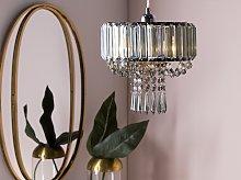 Ceiling Lamp Grey Iron 83 cm Decorative Crystal
