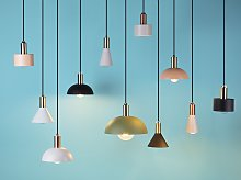 Ceiling Lamp Grey with Copper 177 cm Single Pendant Modern