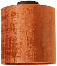 Ceiling lamp matt black velvet shade red 25 cm -