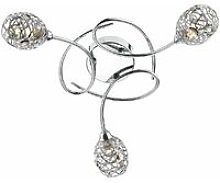 Ceiling lamp Numero polished chrome and crystal 3