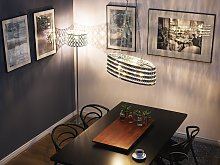 Ceiling Lamp Silver Crystal 108 cm Double Light