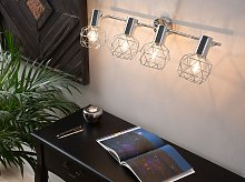 Ceiling Lamp Silver Metal 4 Light Cage Shades