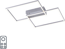 Ceiling lamp steel incl. LED and dimmer 2-lights -