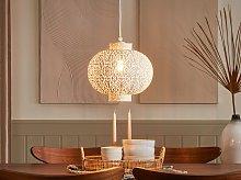 Ceiling Lamp White Metal 88 cm Pendant Moroccan Openwork Shade Oriental