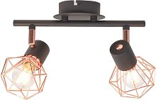 Ceiling Lamp with 2 Spotlights E14 Black and