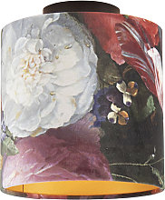 Ceiling Lamp with 20cm Velvet Floral Shade - Combi