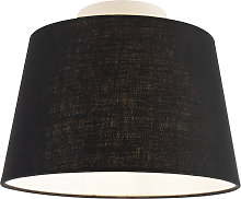 Ceiling Lamp with 25cm Linen Black Shade - Combi