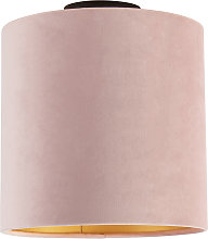 Ceiling Lamp with 25cm Velvet Aged Pink Shade -
