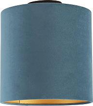 Ceiling Lamp with 25cm Velvet Blue Shade - Combi