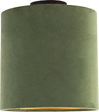 Ceiling Lamp with 25cm Velvet Green Shade - Combi