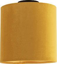 Ceiling Lamp with 25cm Velvet Ochre Shade - Combi
