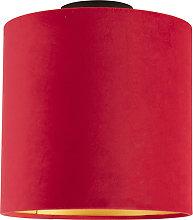 Ceiling Lamp with 25cm Velvet Red Shade - Combi