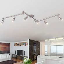 Ceiling Lamp with 6 LED Spotlights Satin Nickel -