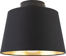 Ceiling lamp with cotton shade black with gold 25
