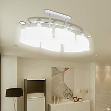 Ceiling Lamp with Ellipsoid Glass Shades 2 pcs E14