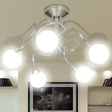 Ceiling Lamp with Round Glass Shades for 5 G9