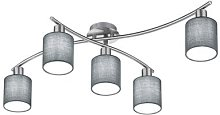 Ceiling light Garda Five-bulb with grey lampshades