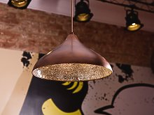Ceiling Light Pendant Copper with Cracked Glass